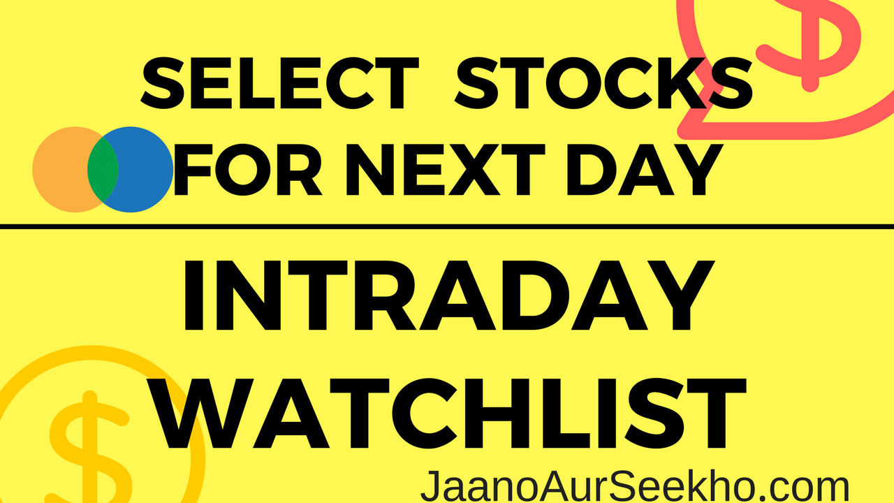 Lesson 17 – How to select stocks for intraday one day before